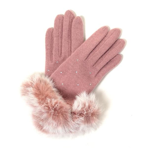 перчатки с мехом кролика