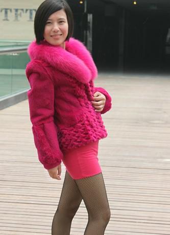 розовое пальто с мехом