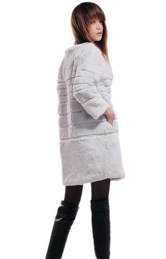 пальто, мех кролика