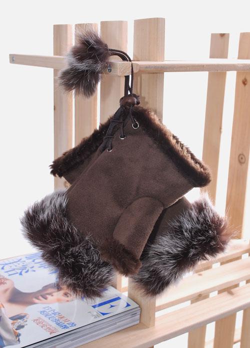 оригинальные перчатки с мехом кролика