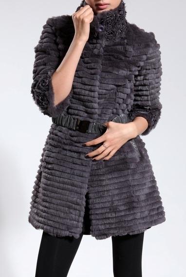 женское пальто с мехом кролика
