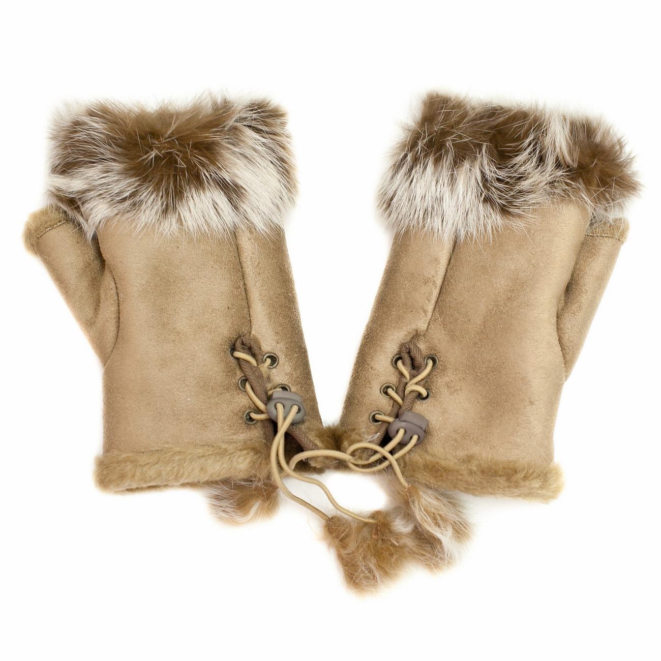 стильные перчатки с мехом кролика
