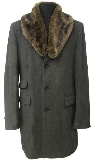 мужское пальто с мехом кролика