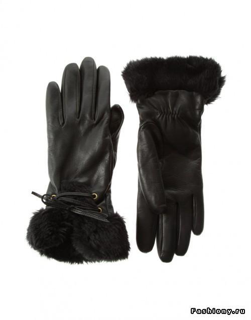 черные перчатки с мехом кролика