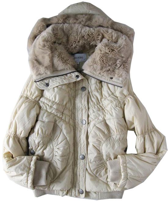 модная куртка с мехом кролика