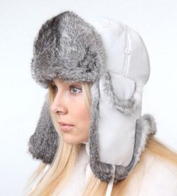 стильная шапка из меха кролика