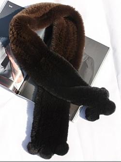 шарф из меха кролика