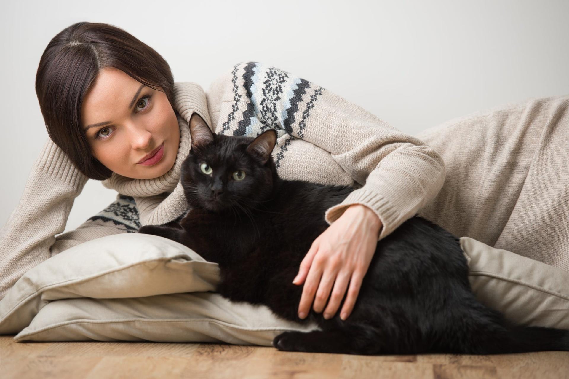 Женщина с кошками картинки